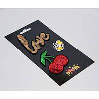 """Наклейки-термо на текстиль 8415 """"Вишня, Love"""" со стразами (180гр,15-20сек)"""