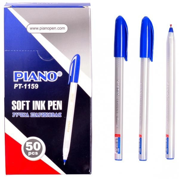 Масляная шариковая ручка Piano PТ-1159 (синяя) CORRECT трехгранная / белый корпус / 50уп, 2000ящ