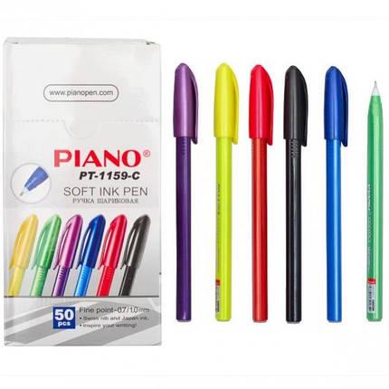 Масляная шариковая ручка Piano PТ-1159С (синяя) CORRECT трехгранная / цветной корпус / 50уп, 2000ящ, фото 2