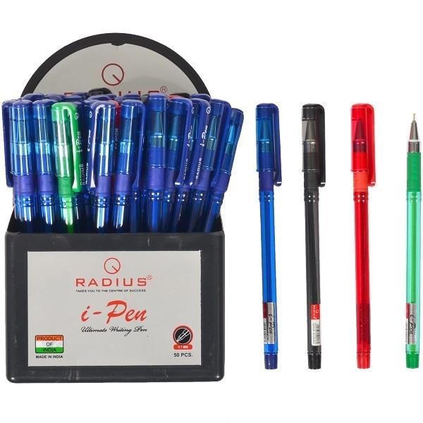 """Ручка шариковая  Radius - I-Pen  (уп-50/пластик) """"матовый"""" 34-син/10-черн/4-красн/2-зел"""