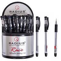 Ручка шариковая  Radius - RACE  (уп-30/пластик) черный / прозрачный с резинкой