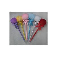 Ручка -  игрушка № 1215 ( Плюшевый шар ) с бантом