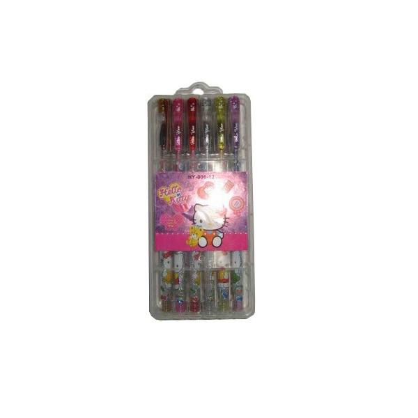 Набор гелевых ручек 12 цветов с блестками HY-006-12    HK (в пластиковом футляре)