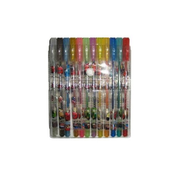 Набор гелевых ручек 12 цветов с блестками 803-12C Тачки (PVC)