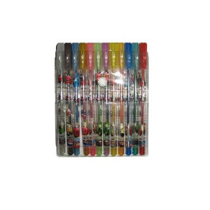 Набор гелевых ручек 12 цветов с блестками 803-12C Тачки (PVC), фото 2