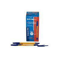"""Ручка шариковая  А-118 """"А+ Universal"""" (синяя)  Желтый корпус, синие колпачки/50уп,4000ящ"""