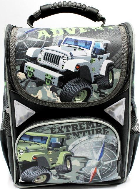 """Ранец ортопедический каркасный  """"Military jeep"""" 4 отделения, ортопедическая спинка, светоотрожатель"""