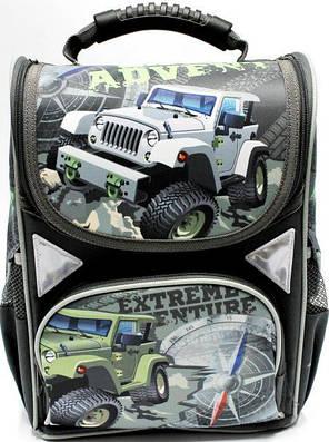"""Ранец ортопедический каркасный  """"Military jeep"""" 4 отделения, ортопедическая спинка, светоотрожатель, фото 2"""