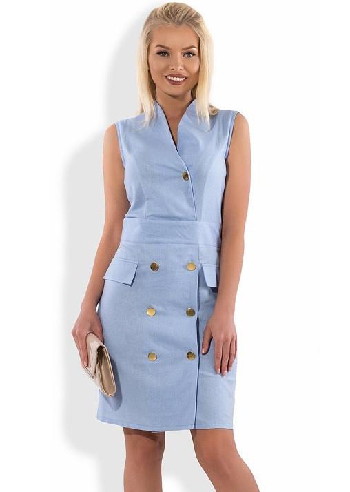 Платье голубое из льна Д-1286