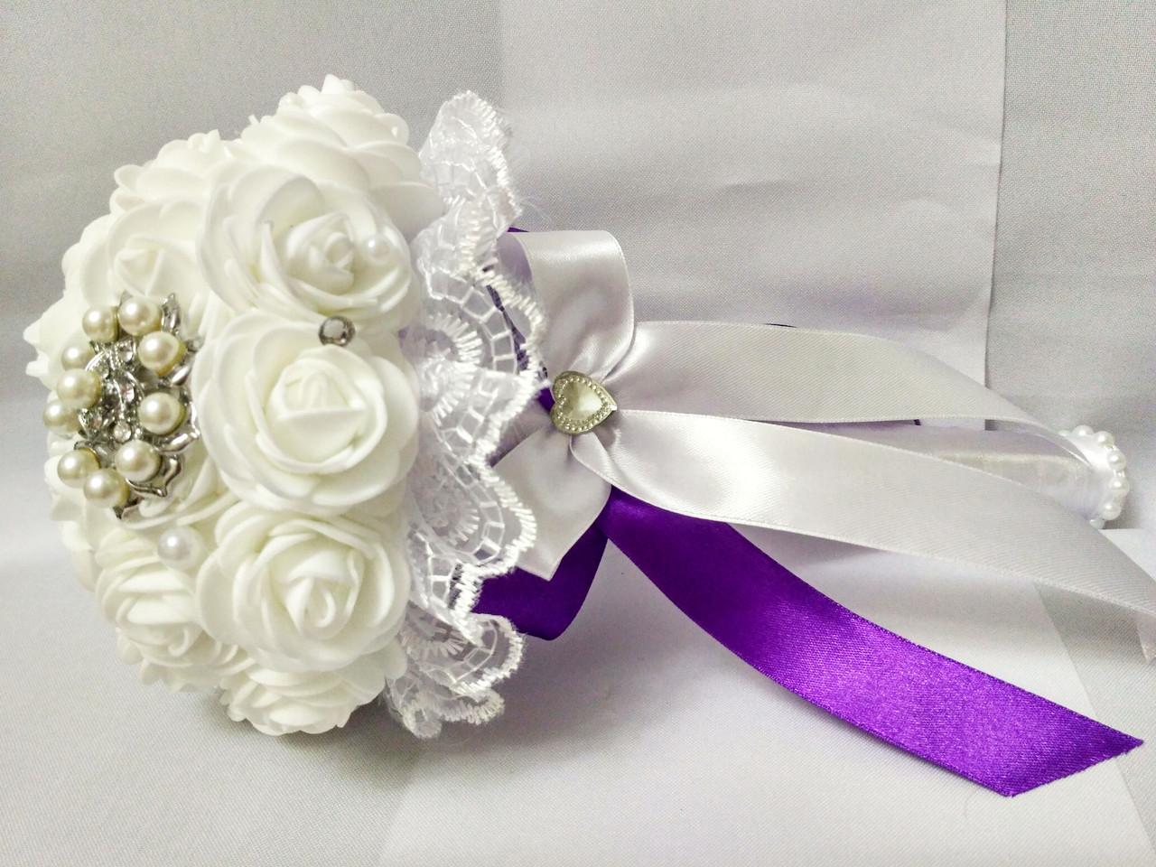 Свадебный букет-дублер для невесты Stile (Фиолетово-белый)
