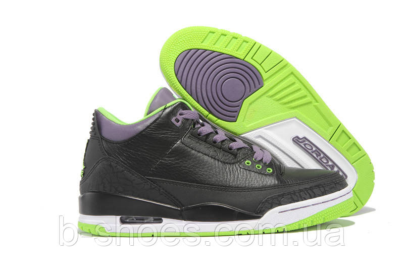 Мужские кроссовки Air Jordan Retro 3 (Black/Green/White)
