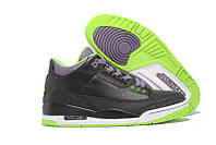 Мужские кроссовки Air Jordan Retro 3 (Black/Green/White), фото 1