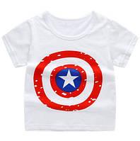 """Футболка детская белая принт щит """"Капитан Америка"""" размеры: 90,100,110 Код: YXYY0015"""