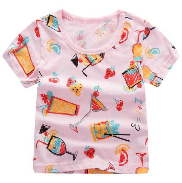 """Футболка дитяча рожева принт """"Коктейлі"""" розміри: 90,100,110 Код: YXYY0015"""