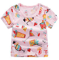 """Футболка детская розовая принт """"Коктейли"""" размеры: 90,100,110 Код: YXYY0015"""
