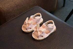 Сандали детские для девочек розовые аппликация бабочка На липучке 16-19 р код F02