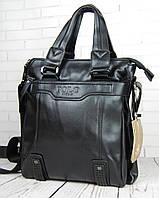 Мужская кожаная сумка через плече Polo Videng Casual большая с ручками  (Два цвета)