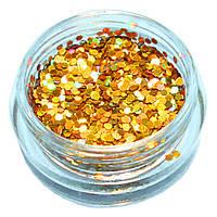 Блёстки Глиттеры Золотого цвета для Дизайна Ногтей в Банке №21, Материалы для Дизайна Ногтей