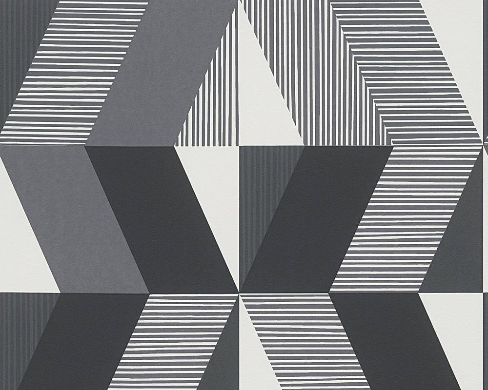 Немецкие черно белые дизайнерские обои 303952 с крупным креативным графическим рисунком - ромбы кубы геометрия