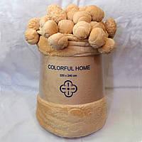 Плед Colorful Home с помпонами персиковый 200х220см.