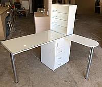 Угловой маникюрный стол с дополнительной столешницей и УФ лампой V240