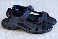 Мужские сандалии синего цвета на липучках натуральная кожа