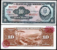Мексика / Mexico 10 Pesos 1963 Pick 58j UNC