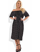 Модное черное платье в белый горошек Д-1292