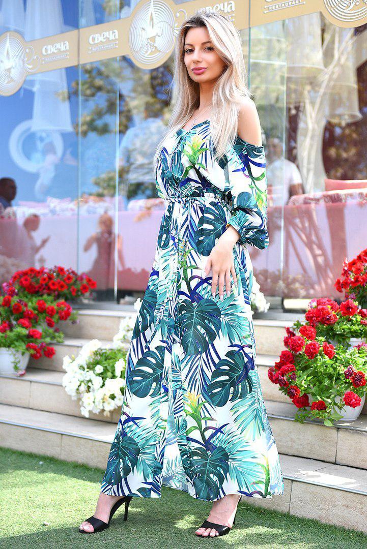 Летнее длинное платье с тропическим принтом. Цвета! - Интернет-магазин