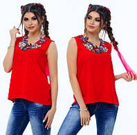 Блузка с вышивкой. 5 цветов. Р-ры: 42, 44, 46.