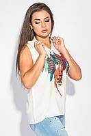 Блузка женская с ярким принтом 459F001-1 (Молочный)