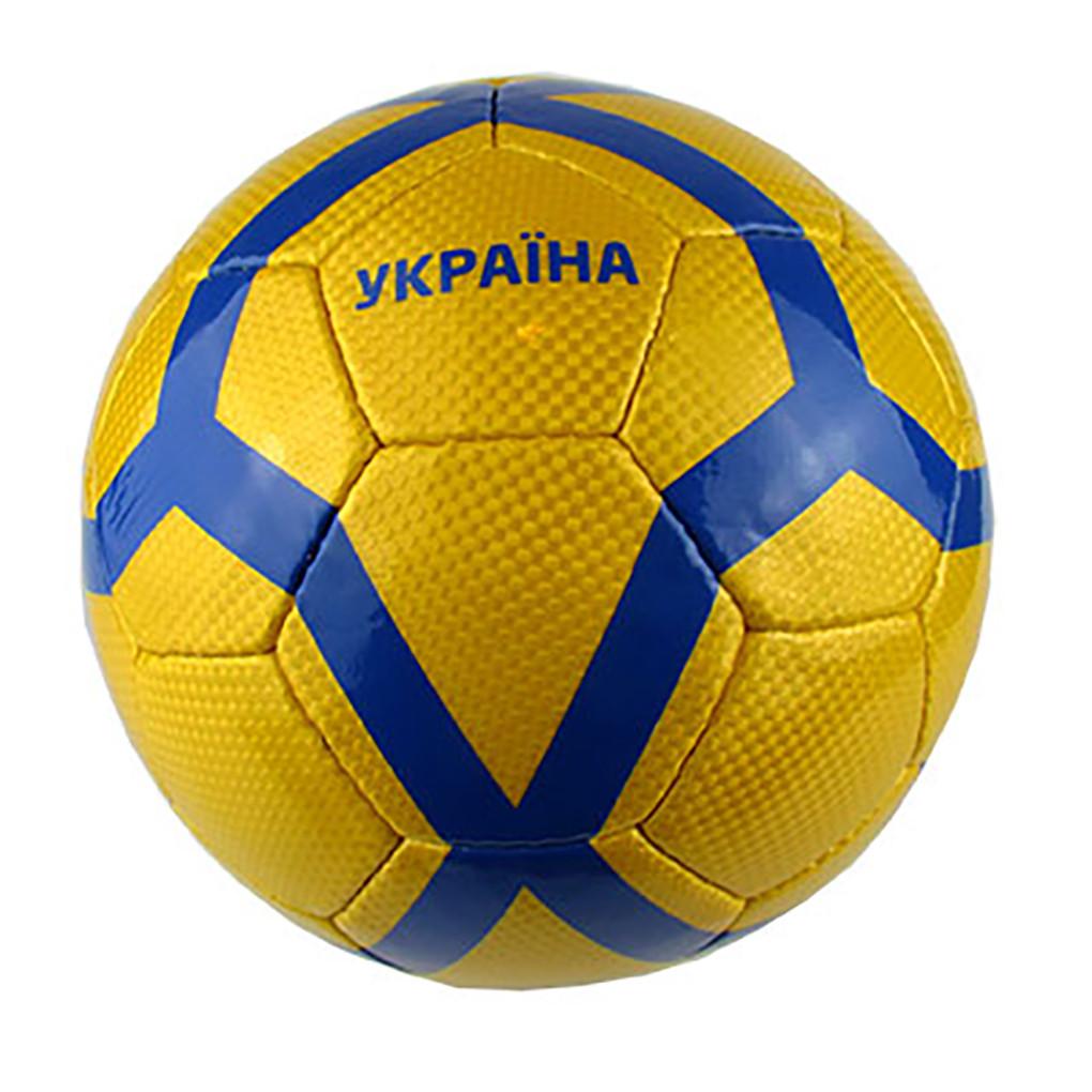 Мяч футбольный UNIT 20151-US синие полосы на желтом фоне