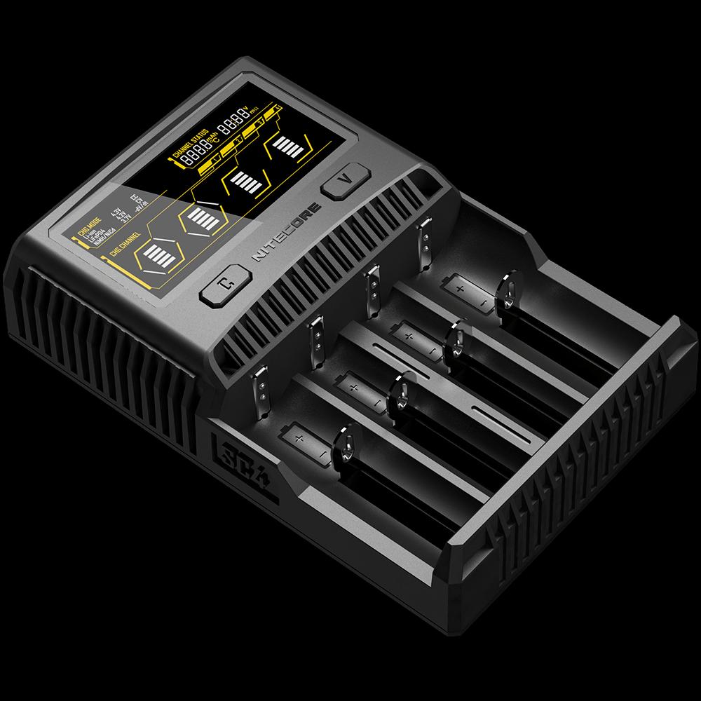 Зарядное устройство для аккумуляторов Nitecore SC4 с LED дисплеем (0.5A, 1A, 2A, 3A)