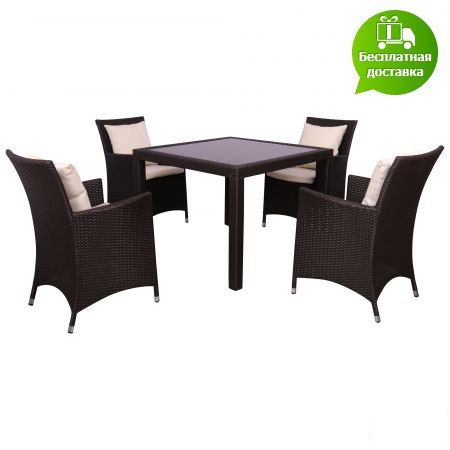 Комплект мебели Samana-4 из ротанга Elit (SC-8849-S2) Brown MB1034 ткань A13815