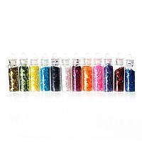 PVC Пластик с блестками, Украшение, Шестиугольник, Блестки,12 Цветов, 40 мм x 11 мм