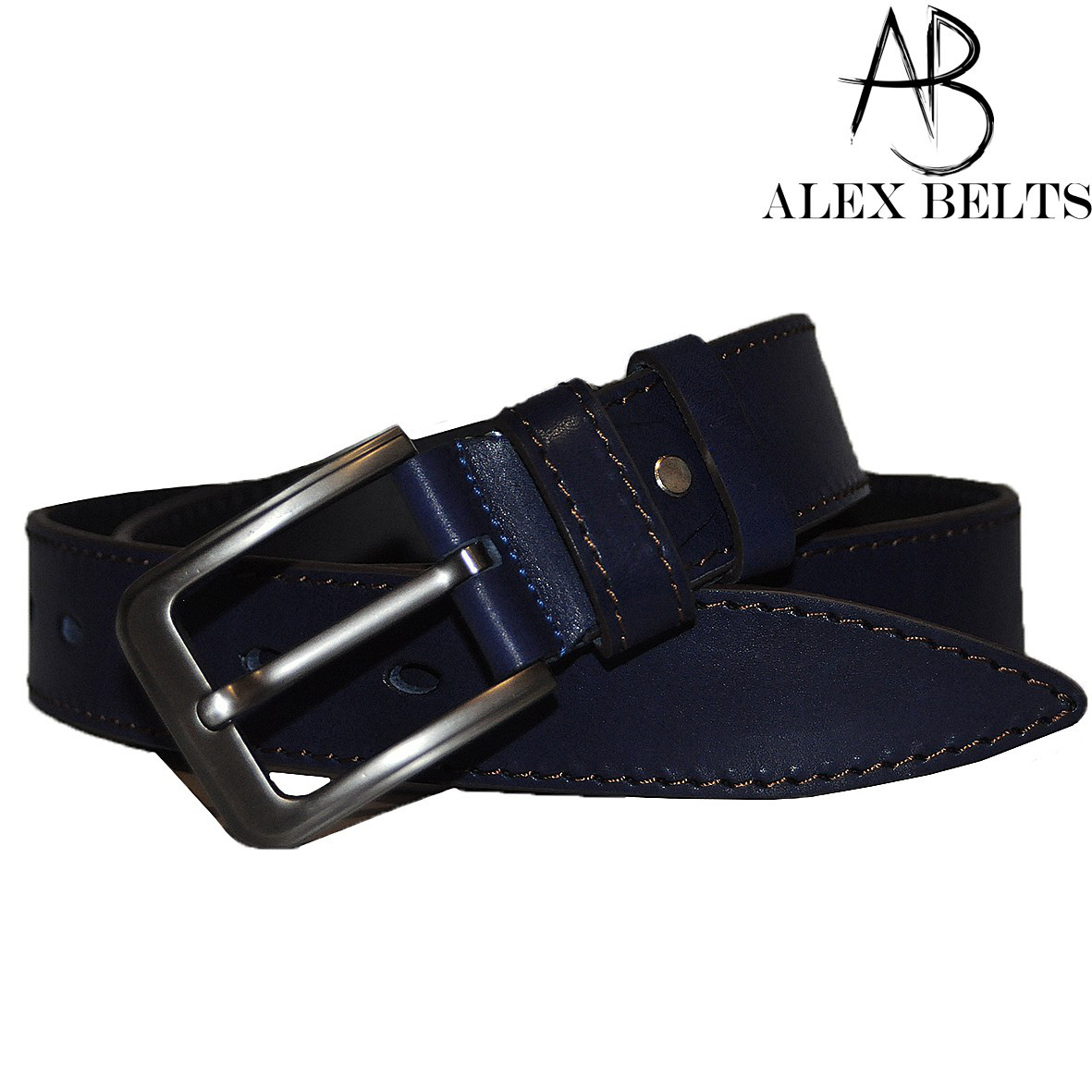 Ремень мужской джинсовый(темно-синий) кожа 40 мм - купить оптом в Одессе