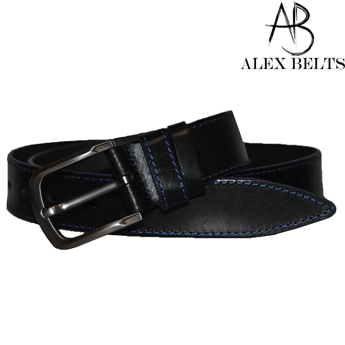 Ремень мужской джинсовый (черный) кожа 40 мм - купить оптом в Одессе