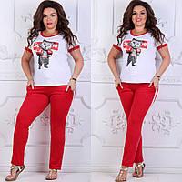 Женский костюм спортивный красный в стиле Supreme Кот, фото 1