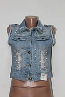 Женская летняя джинсовая безрукавка жемчуг очень стильная в сочетании с любой повседневной одеждой
