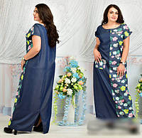 Летнее длинное платье джинсовое, 48-62 размер , фото 1