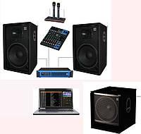 Караоке - система с ноутбуком + комплект SD  KARDJ15-102-Sub15+ с сабвуфером, мощность 1000Вт