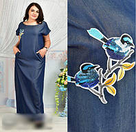 Довге джинсове плаття з вишивкою, розмір 48-62, фото 1