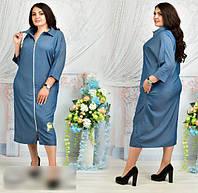 Жіноче плаття джинсове на блискавці, 48-62 розмір, фото 1