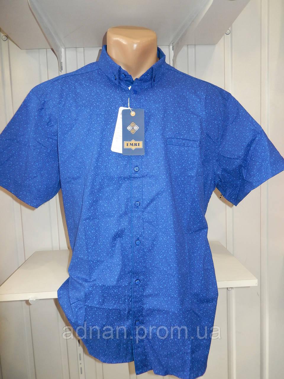 Рубашка мужская EMRE, батал, короткий рукав, стрейч, заклёпки, узор 06.2018 009\ купить рубашку
