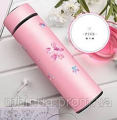 Термос 450мл Zoecho с ситечком розовый