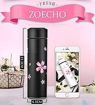 Термос 450мл Zoecho с ситечком розовый, фото 3