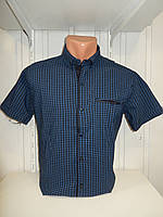 Рубашка мужская CORM короткий рукав, мелкая клетка, стрейч котон 012 \ купить рубашку оптом.