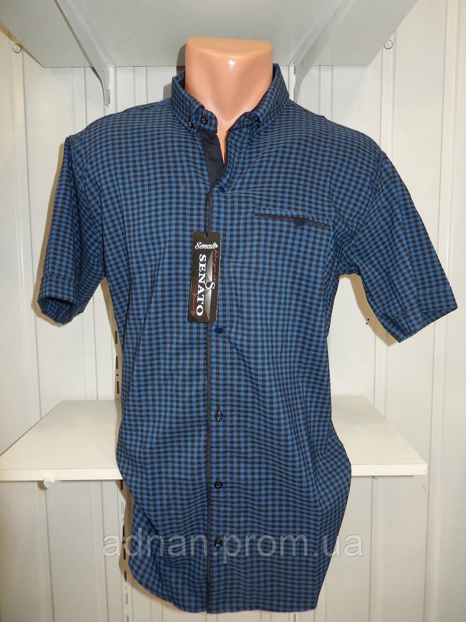 Рубашка мужская  CROM стрейч котон, полу-батал мелкая клетка 011 \ купить рубашку оптом.
