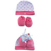 Детская шапочка и пинетки для девочки  0-6  месяцев