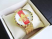 Стильные женские часы копия Гуччи золото+белый, фото 1